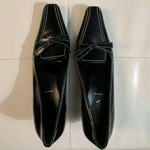 Prada Black Bow 1in Heels
